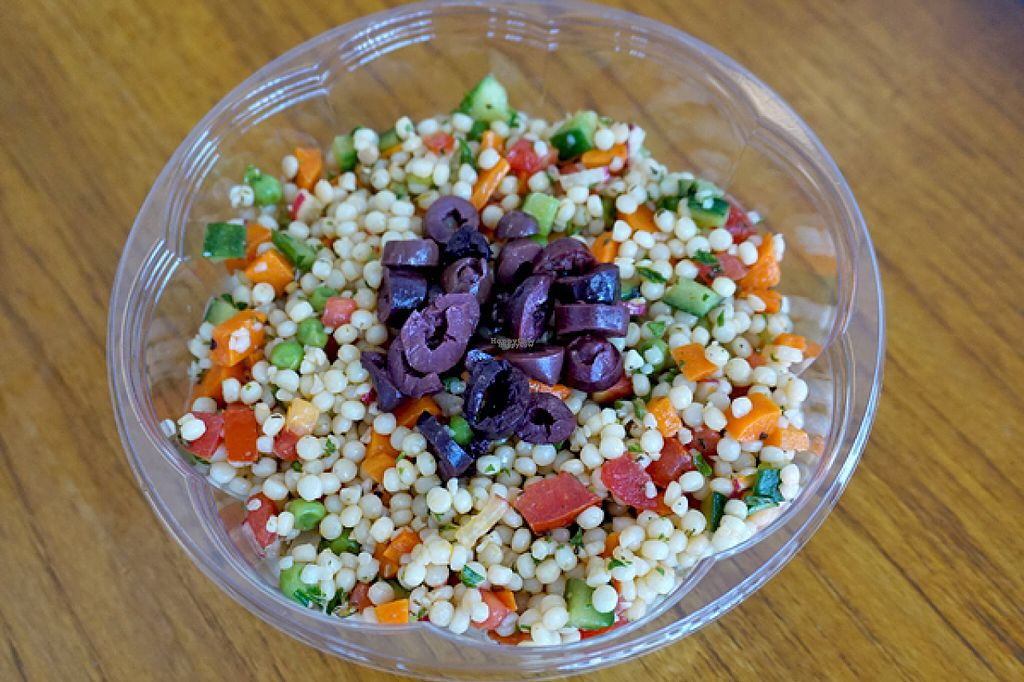 """Photo of Couscous a Gogo  by <a href=""""/members/profile/JustineHabib"""">JustineHabib</a> <br/>Israeli Couscous with Kalamata Greek olives (imported from Greece, not the boring canned olives!)  Delicious with vegan, soyfree Feta! <br/> August 17, 2016  - <a href='/contact/abuse/image/75450/169372'>Report</a>"""