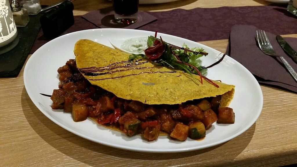 """Photo of Sauerlandstuben  by <a href=""""/members/profile/Belgo"""">Belgo</a> <br/>curcuma crêpe filled with ratatouille <br/> February 9, 2017  - <a href='/contact/abuse/image/75457/224654'>Report</a>"""
