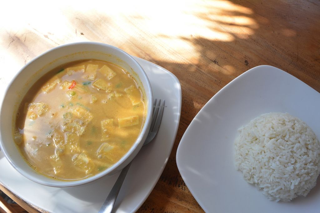 """Photo of Bali Maitreya Cafe  by <a href=""""/members/profile/Steve_vegan"""">Steve_vegan</a> <br/>Tofu Curry with rice <br/> June 23, 2016  - <a href='/contact/abuse/image/75459/155559'>Report</a>"""