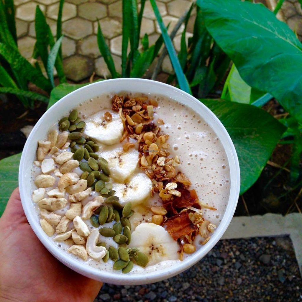 """Photo of Bali Maitreya Cafe  by <a href=""""/members/profile/Anna-li"""">Anna-li</a> <br/>Energy Smoothie Bowl : Banana, dates and soy milk  <br/> July 22, 2016  - <a href='/contact/abuse/image/75459/161496'>Report</a>"""