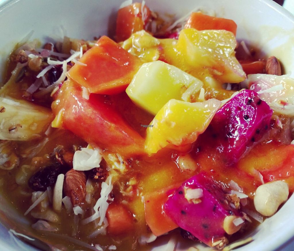 """Photo of Bali Maitreya Cafe  by <a href=""""/members/profile/Sophie"""">Sophie</a> <br/>muesli fruit bowl with mango juice <br/> December 4, 2016  - <a href='/contact/abuse/image/75459/197322'>Report</a>"""