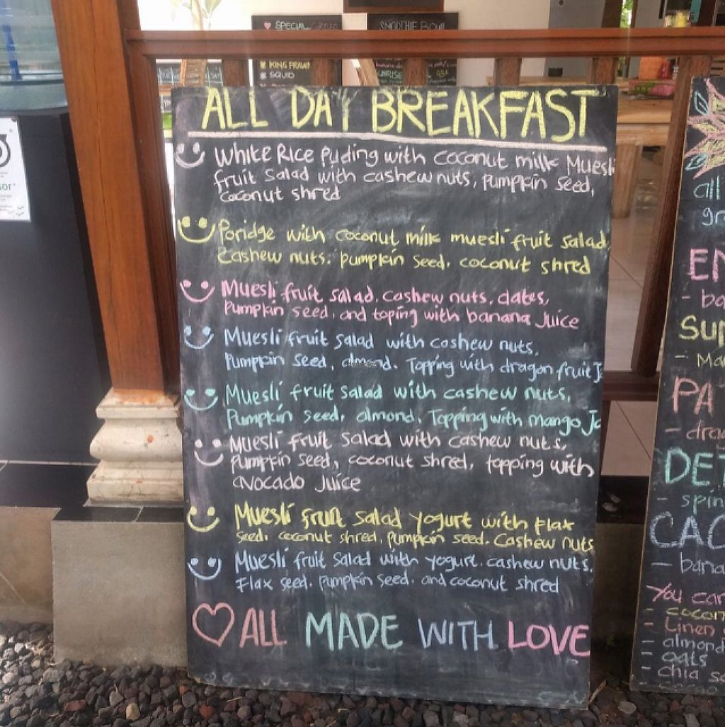 """Photo of Bali Maitreya Cafe  by <a href=""""/members/profile/Sophie"""">Sophie</a> <br/>menu <br/> December 6, 2016  - <a href='/contact/abuse/image/75459/197763'>Report</a>"""
