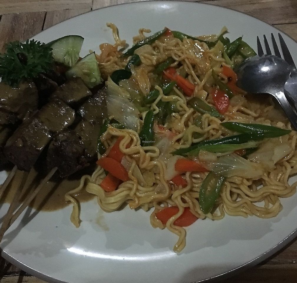 """Photo of Bali Maitreya Cafe  by <a href=""""/members/profile/Hopealomu"""">Hopealomu</a> <br/>Fried noodles with """"chicken"""" satay <br/> June 4, 2017  - <a href='/contact/abuse/image/75459/267256'>Report</a>"""