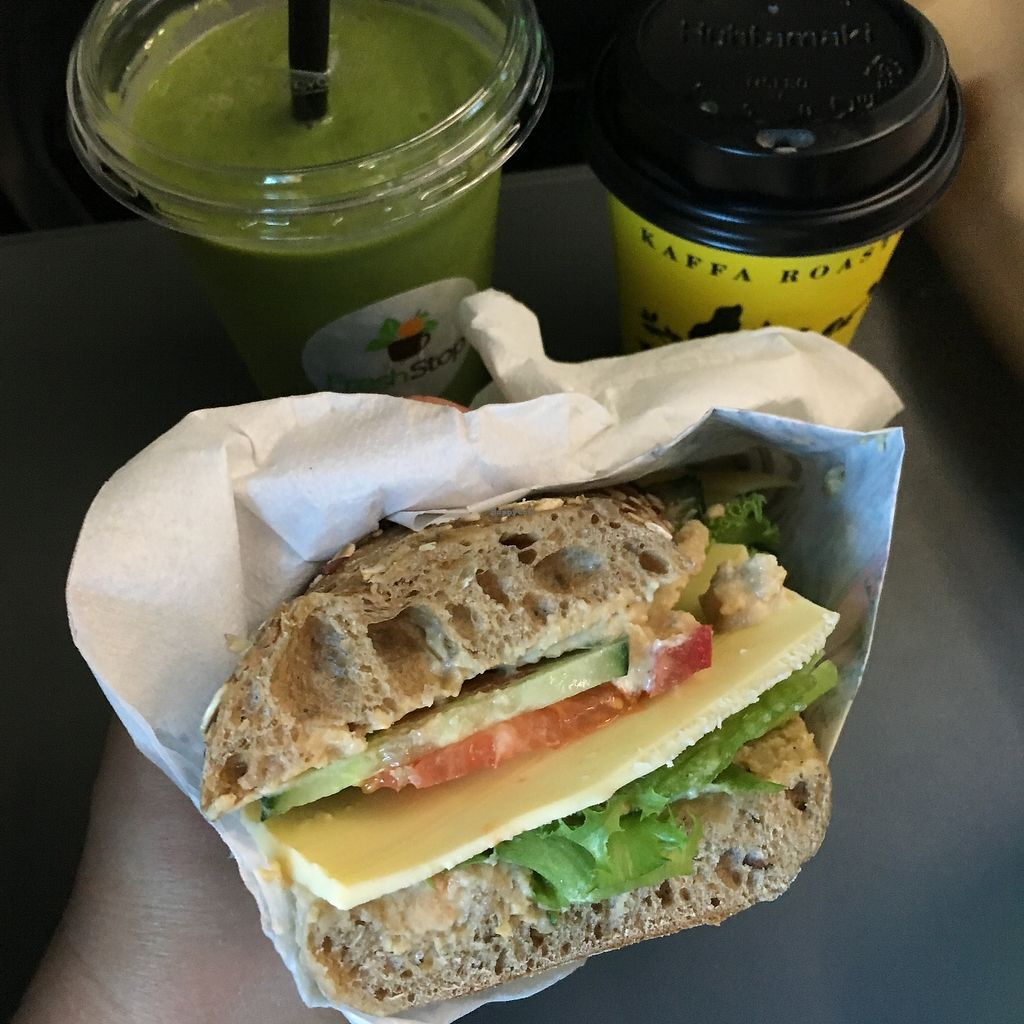 """Photo of FreshStop - Eliel  by <a href=""""/members/profile/SeitanSeitanSeitan"""">SeitanSeitanSeitan</a> <br/>Vegan sandwich, green smoothie and cappucino with oat milk.  <br/> August 12, 2017  - <a href='/contact/abuse/image/75473/291949'>Report</a>"""