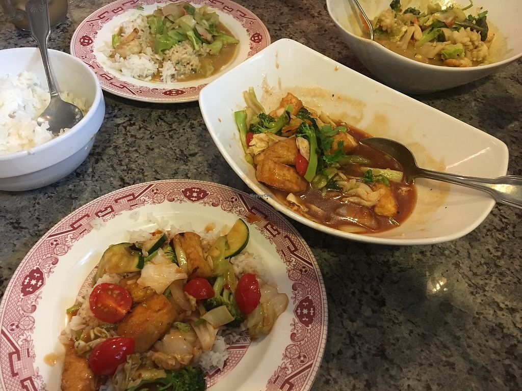 """Photo of Ray's Place  by <a href=""""/members/profile/Grammajo"""">Grammajo</a> <br/>Wonderful Tofu in Tomato Sauce with mixed veggies and rice <br/> August 4, 2017  - <a href='/contact/abuse/image/75477/288456'>Report</a>"""