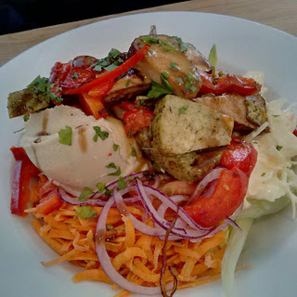 """Photo of The Sanctuary of Healing  by <a href=""""/members/profile/Veganolive1"""">Veganolive1</a> <br/>Basil and smoked tofu salad <br/> June 22, 2016  - <a href='/contact/abuse/image/75487/155538'>Report</a>"""