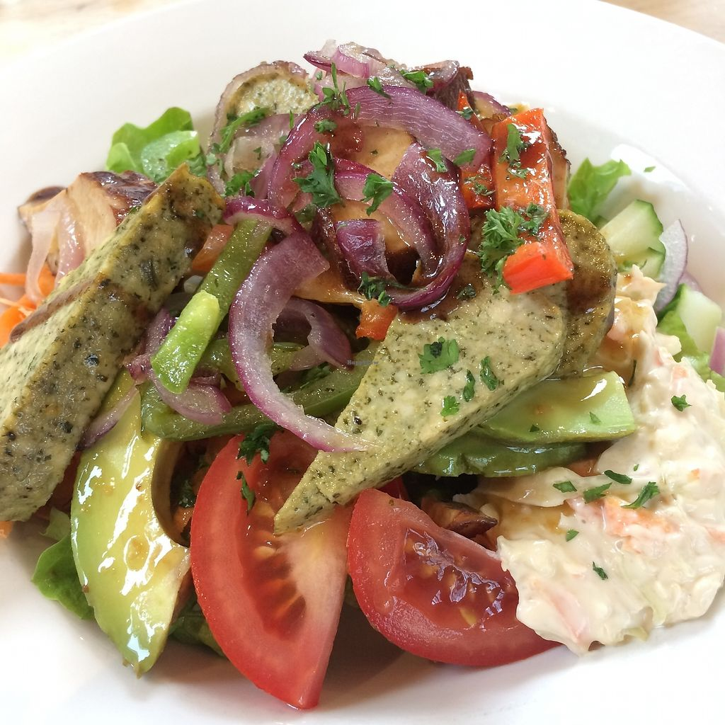 """Photo of The Sanctuary of Healing  by <a href=""""/members/profile/Hoggy"""">Hoggy</a> <br/>Vegan Salad with basil tofu & smoked tofu, avocado, houmous and vegan coleslaw served on mixed leaves and vegetables. Served with freshly baked bread, made in the kitchen and vegan spread <br/> October 20, 2017  - <a href='/contact/abuse/image/75487/316960'>Report</a>"""