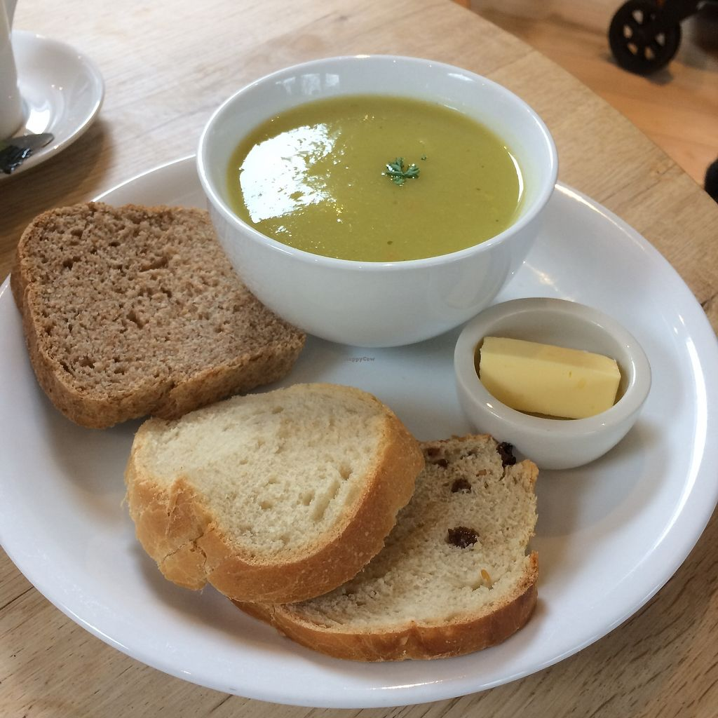 """Photo of The Sanctuary of Healing  by <a href=""""/members/profile/Hoggy"""">Hoggy</a> <br/>Soup of the day - Potato and Leek, served with freshly baked bread, made in the kitchen and butter (vegan spread available, not pictured) <br/> October 20, 2017  - <a href='/contact/abuse/image/75487/316962'>Report</a>"""