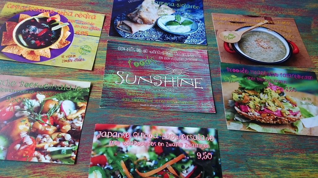 """Photo of Sunshine  by <a href=""""/members/profile/hatsikidee"""">hatsikidee</a> <br/>The different menus on cards. These 6 menus are vegan, or can be made vegan <br/> June 29, 2016  - <a href='/contact/abuse/image/75578/156734'>Report</a>"""