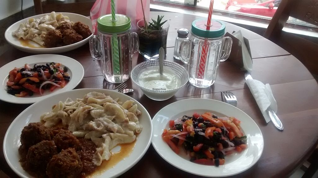 """Photo of Fast & Vegan  by <a href=""""/members/profile/Andorina"""">Andorina</a> <br/>Pasta, meatballs and salad <br/> February 16, 2018  - <a href='/contact/abuse/image/75590/360064'>Report</a>"""