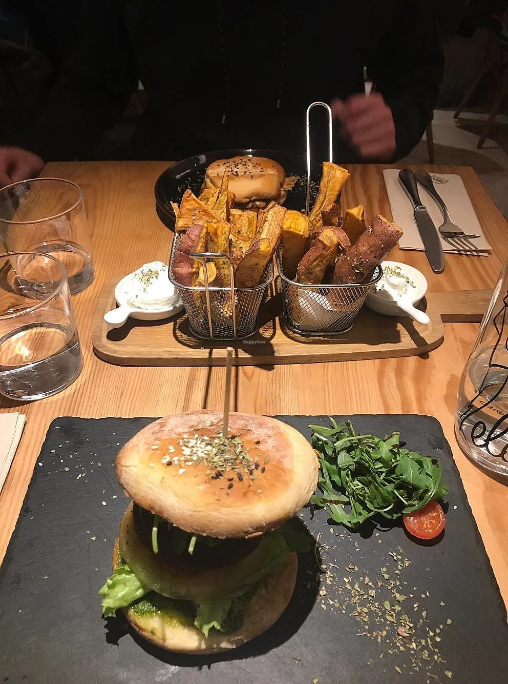 """Photo of Ao 26 - Vegan Food Project  by <a href=""""/members/profile/Lara-RoseTadman"""">Lara-RoseTadman</a> <br/>Bloody beet burger, sweet potato chips with vegan mayo and seitan sandwich in the back! <br/> April 15, 2018  - <a href='/contact/abuse/image/75593/386387'>Report</a>"""