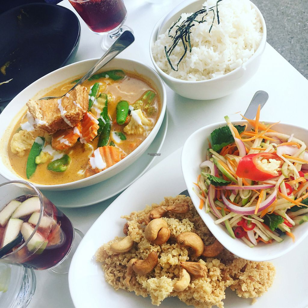 """Photo of Kindness Cafe  by <a href=""""/members/profile/Necia11"""">Necia11</a> <br/>Apple Salad and Massamam Curry <br/> April 22, 2017  - <a href='/contact/abuse/image/75597/250984'>Report</a>"""