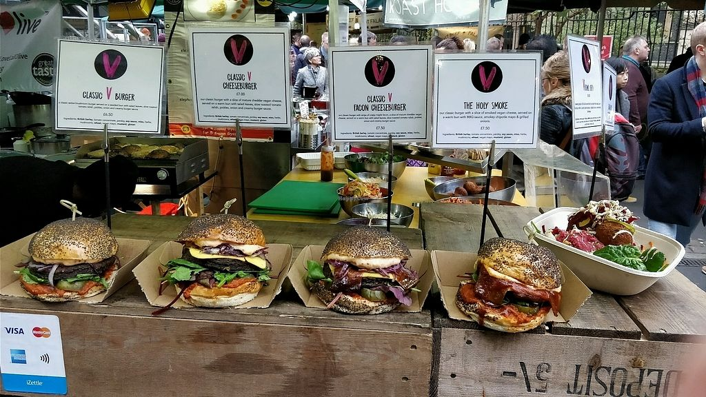 "Photo of Big V - Borough Market Food Stand  by <a href=""/members/profile/SuperVegan77"">SuperVegan77</a> <br/>holy smoke and facon cheese ones are quite good <br/> November 25, 2017  - <a href='/contact/abuse/image/75620/328980'>Report</a>"