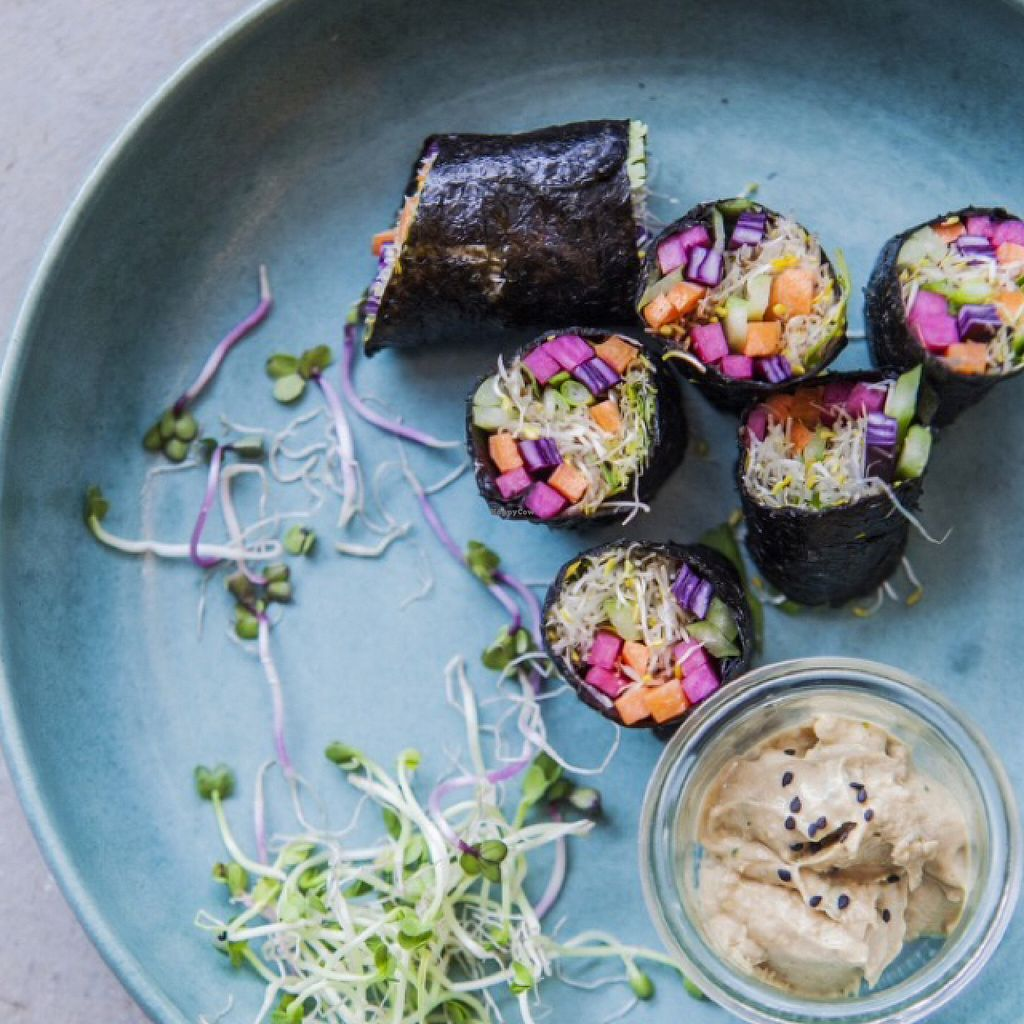 """Photo of The Meets  by <a href=""""/members/profile/MssSunshine"""">MssSunshine</a> <br/>vegan sushi rolls with peanut dip  <br/> June 26, 2016  - <a href='/contact/abuse/image/75636/156183'>Report</a>"""