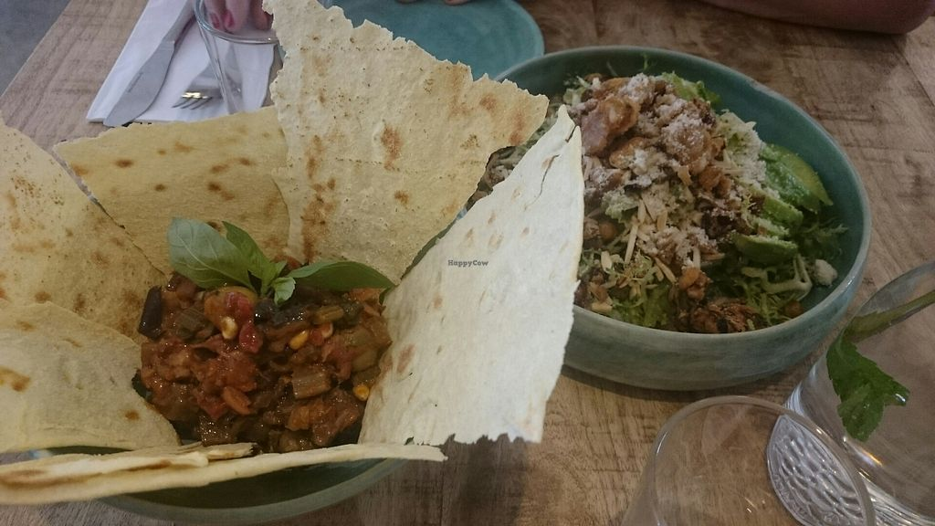 """Photo of The Meets  by <a href=""""/members/profile/Cynthia1998"""">Cynthia1998</a> <br/>eggplant caponata on the left and vegan caesar salad on the right  <br/> July 22, 2017  - <a href='/contact/abuse/image/75636/283191'>Report</a>"""