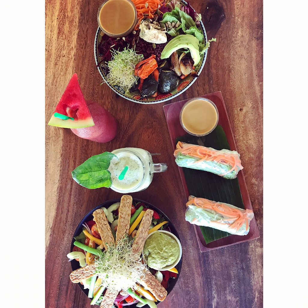 """Photo of The Cashew Tree  by <a href=""""/members/profile/Ulrika"""">Ulrika</a> <br/>Soul bowl, summer salad w/ tempeh, spring rolls (everything is vegan) <br/> November 25, 2017  - <a href='/contact/abuse/image/75644/328922'>Report</a>"""