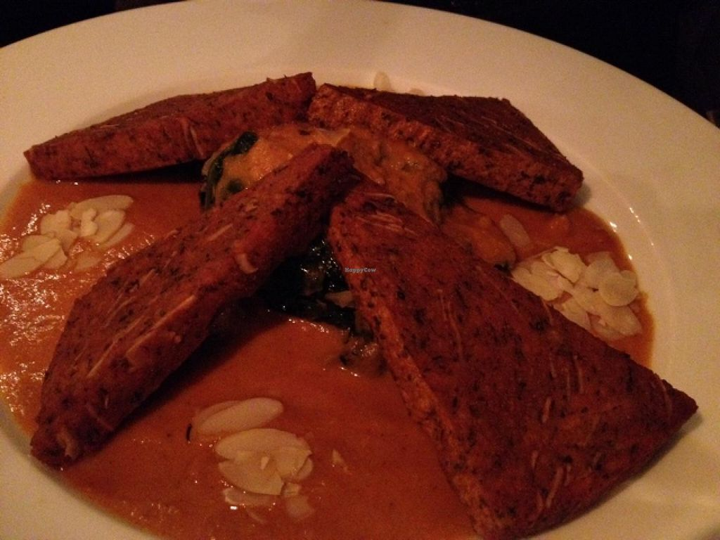 """Photo of Cafe V  by <a href=""""/members/profile/hack_man"""">hack_man</a> <br/>spicy chick pea polenta with curry sauce & spinach with almonds <br/> April 19, 2015  - <a href='/contact/abuse/image/7568/99614'>Report</a>"""