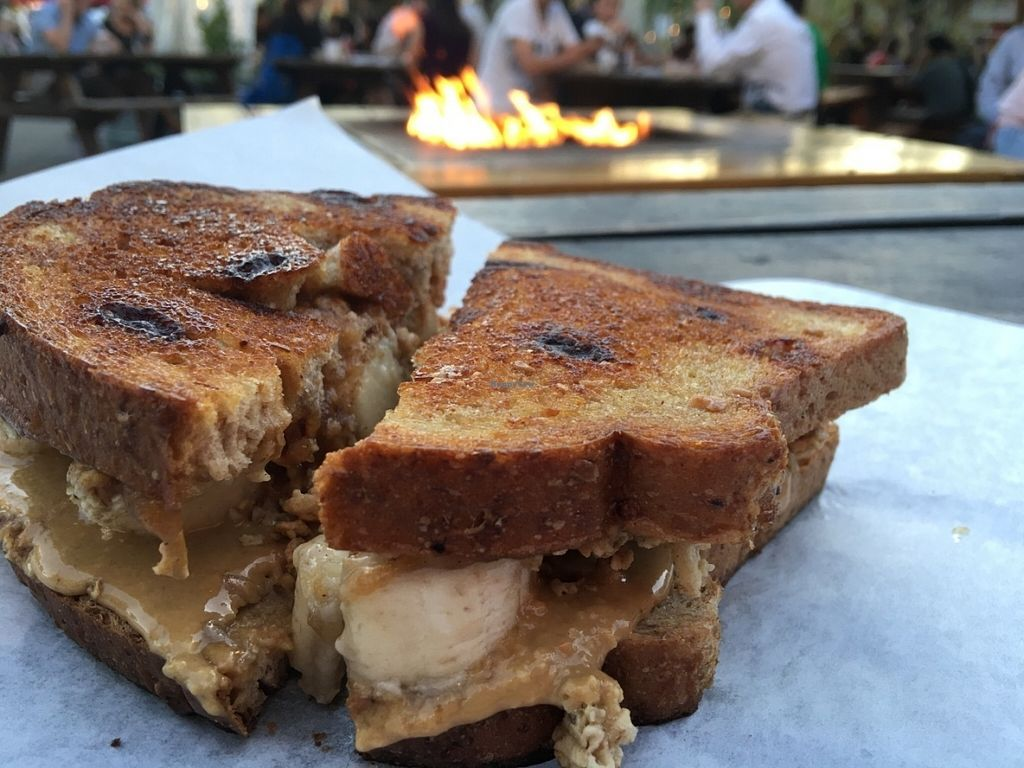 """Photo of CLOSED: PBJ Grilled - Food Truck  by <a href=""""/members/profile/Arthousebill"""">Arthousebill</a> <br/>Grilled nut butter, apple jam and banana sandwich on cinnamon raisin toast <br/> July 10, 2016  - <a href='/contact/abuse/image/75744/158850'>Report</a>"""