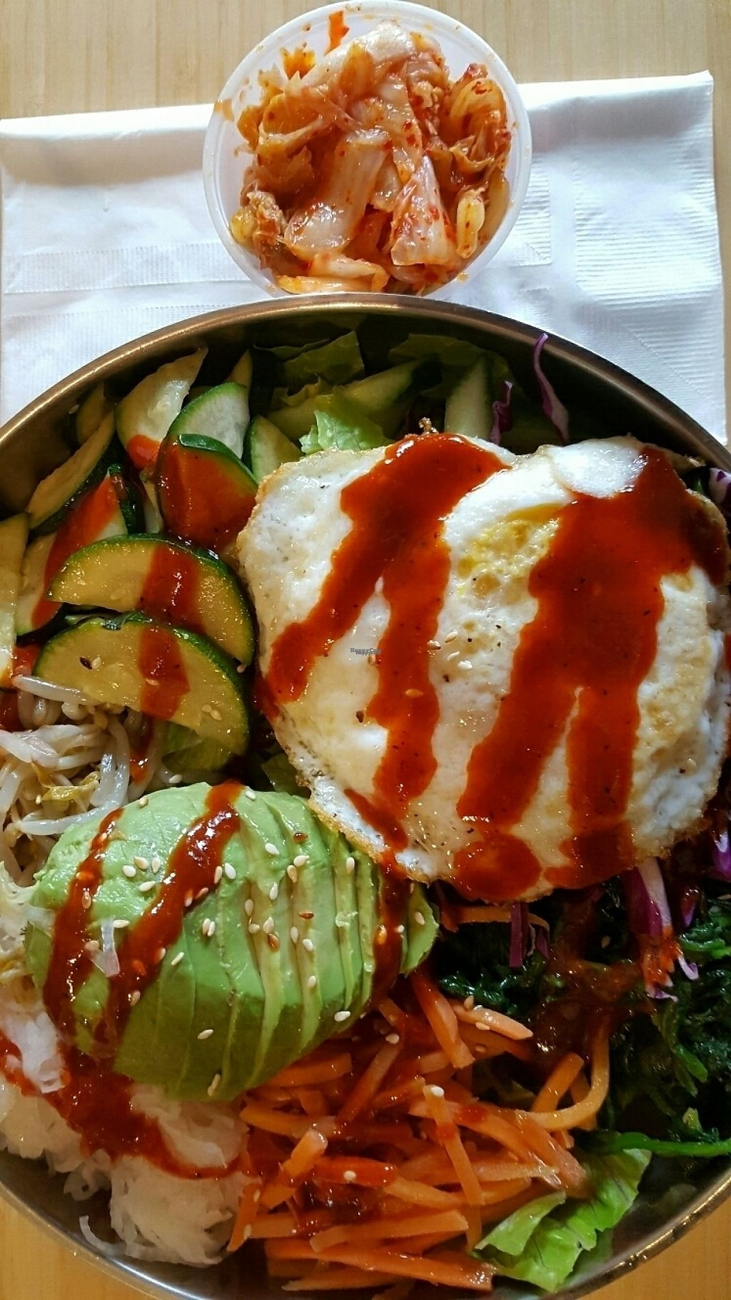 """Photo of Rice Junkies - Downtown  by <a href=""""/members/profile/missmaryxjane"""">missmaryxjane</a> <br/>bibimbab bowl with side of kimchi (has egg) <br/> March 25, 2017  - <a href='/contact/abuse/image/75770/240459'>Report</a>"""