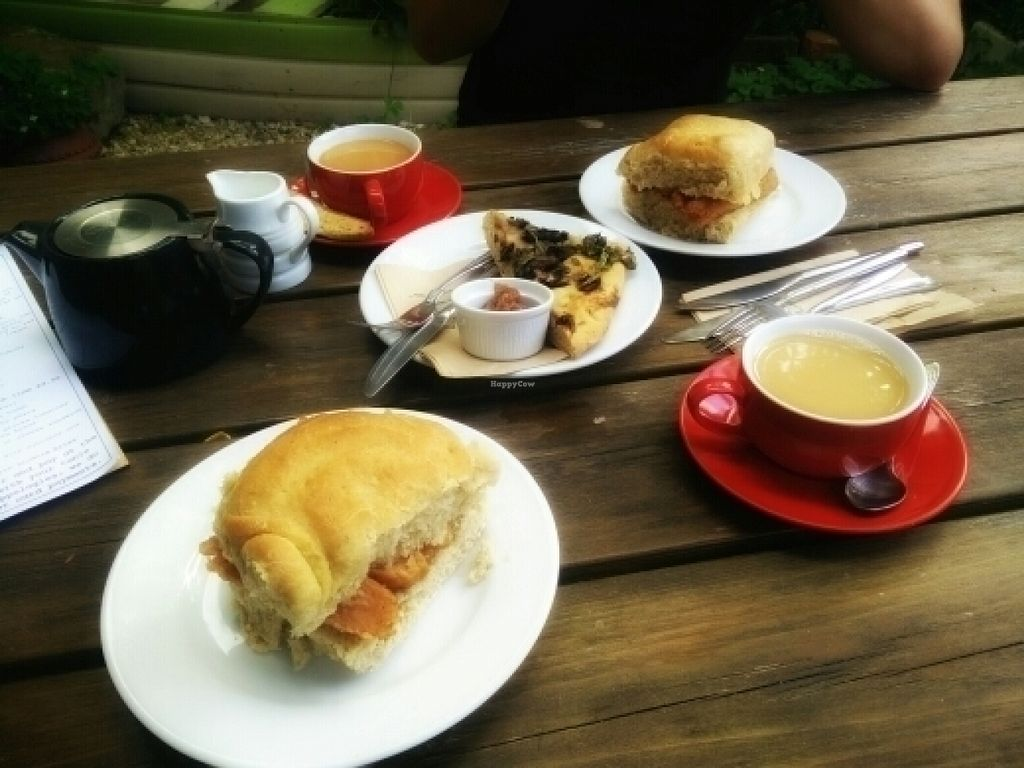 """Photo of White's Bakehouse  by <a href=""""/members/profile/SashJacques"""">SashJacques</a> <br/>Our all Vegan brunch consisting of veggie sausage sandwich, mushroom flatbread and Chai tea with soy milk <br/> July 21, 2016  - <a href='/contact/abuse/image/75786/161349'>Report</a>"""