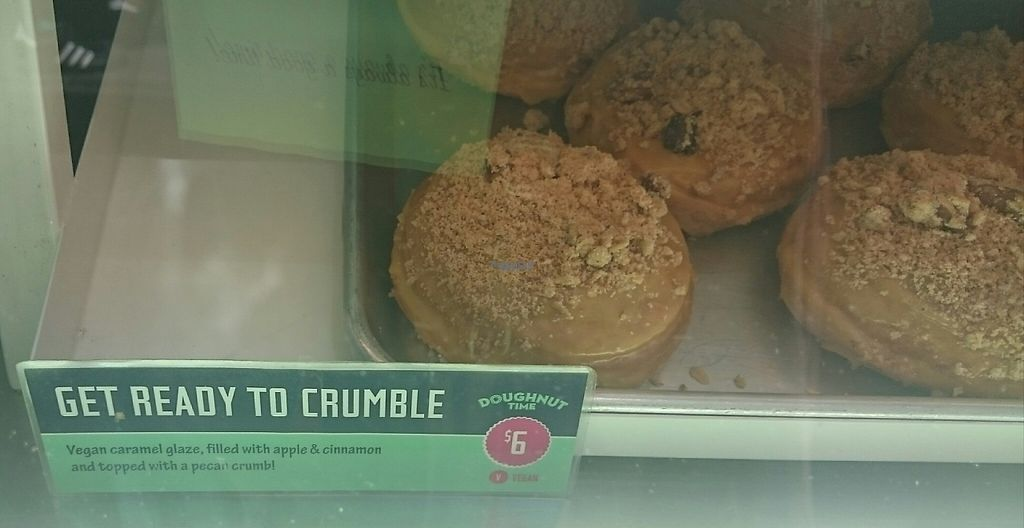 """Photo of CLOSED: Doughnut Time - Degraves St  by <a href=""""/members/profile/Cynthia1998"""">Cynthia1998</a> <br/>Apple crumble donuts - vanilla donut with caramel icing, crushed cookies and poached apple filling <br/> February 1, 2017  - <a href='/contact/abuse/image/75803/220414'>Report</a>"""