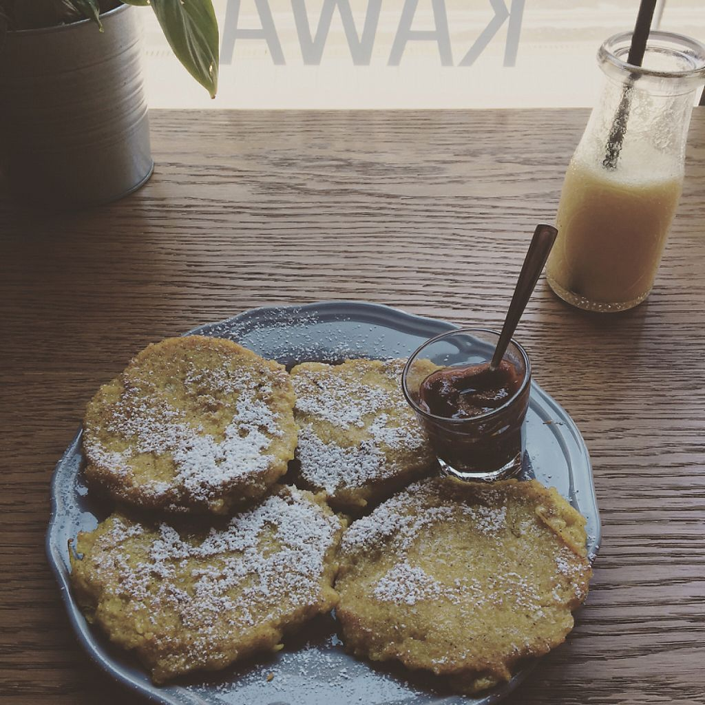 "Photo of Mo-Ja Cafe  by <a href=""/members/profile/cajb"">cajb</a> <br/>Vegan apple pancakes!! <br/> May 20, 2017  - <a href='/contact/abuse/image/75826/260597'>Report</a>"