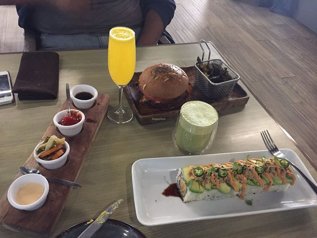 """Photo of Vegan Inc  by <a href=""""/members/profile/Hope93"""">Hope93</a> <br/>BBQ burger & Dragon Roll <br/> January 15, 2018  - <a href='/contact/abuse/image/75864/346810'>Report</a>"""