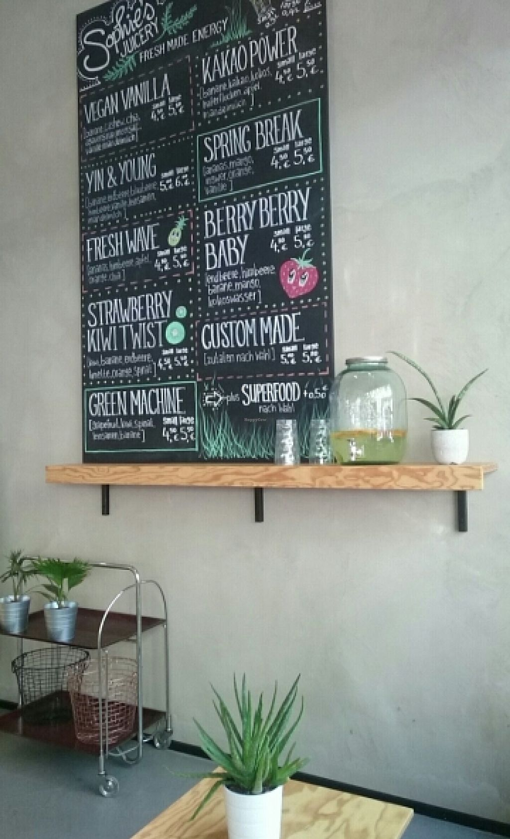 Photo of CLOSED: Sophie's Juicery  by ChiaraEndrulat <br/>Smoothie menu  <br/> June 30, 2016  - <a href='/contact/abuse/image/75871/157007'>Report</a>