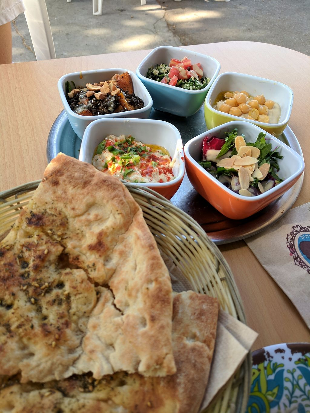 """Photo of Umm Kulthum  by <a href=""""/members/profile/eee135"""">eee135</a> <br/>5 salad tasting - hummus, bababganous, beet salad, tabbouleh, and sweet potato lentil salad with zatar bread  <br/> August 26, 2017  - <a href='/contact/abuse/image/75877/297396'>Report</a>"""