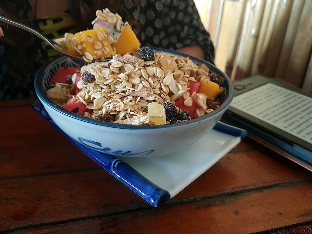 """Photo of Rising Sun Restaurant & Guesthouse  by <a href=""""/members/profile/vegatleticas"""">vegatleticas</a> <br/>Muesli & Fruit <br/> February 24, 2018  - <a href='/contact/abuse/image/75892/362998'>Report</a>"""