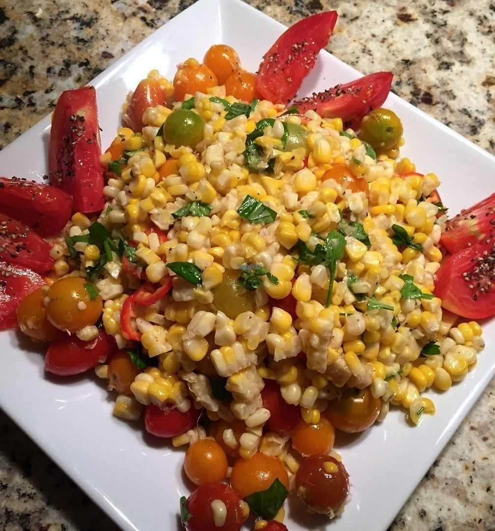"""Photo of Guernsey Kitchen  by <a href=""""/members/profile/BobMcKenna"""">BobMcKenna</a> <br/>Local roasted corn and tomato salad.  We made our first batch of Seitan this week. We love the results and will be introducing it to the GK menu in the next few weeks.  <br/> September 7, 2016  - <a href='/contact/abuse/image/75907/174208'>Report</a>"""