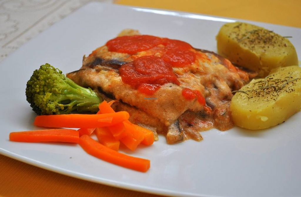 """Photo of Naturlandia  by <a href=""""/members/profile/RominaGP"""">RominaGP</a> <br/>Eggplant Parmigiana with potatoes with herbs and salad <br/> July 4, 2016  - <a href='/contact/abuse/image/75984/157819'>Report</a>"""
