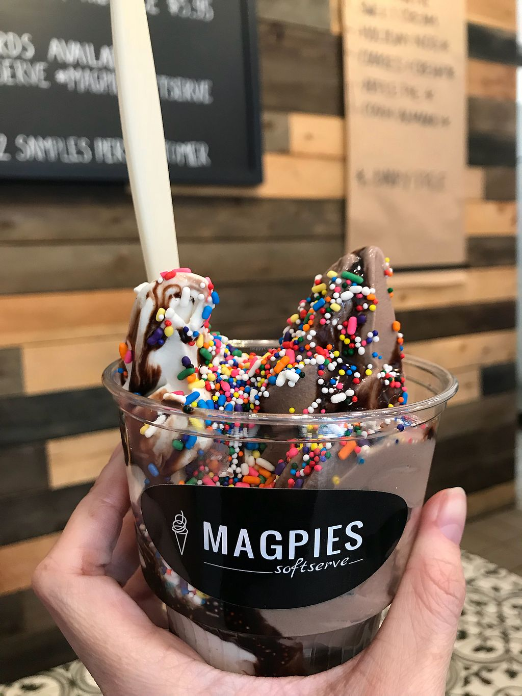 """Photo of Magpies Softserve  by <a href=""""/members/profile/shineonyou"""">shineonyou</a> <br/>Vegan soft serve  <br/> December 4, 2017  - <a href='/contact/abuse/image/76001/332170'>Report</a>"""