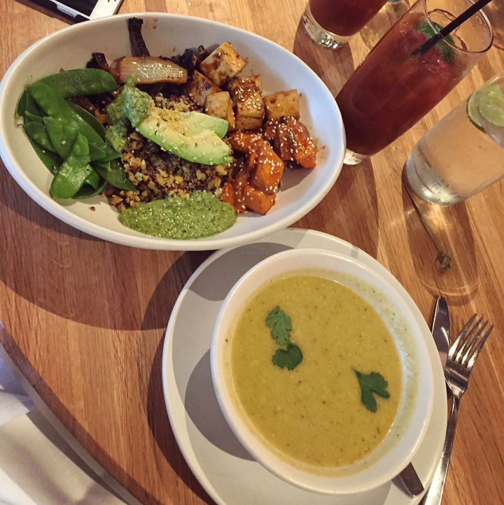 """Photo of True Food Kitchen  by <a href=""""/members/profile/Veganmeower"""">Veganmeower</a> <br/>ancient grains bowl and soup on specials  <br/> May 21, 2017  - <a href='/contact/abuse/image/76025/260780'>Report</a>"""