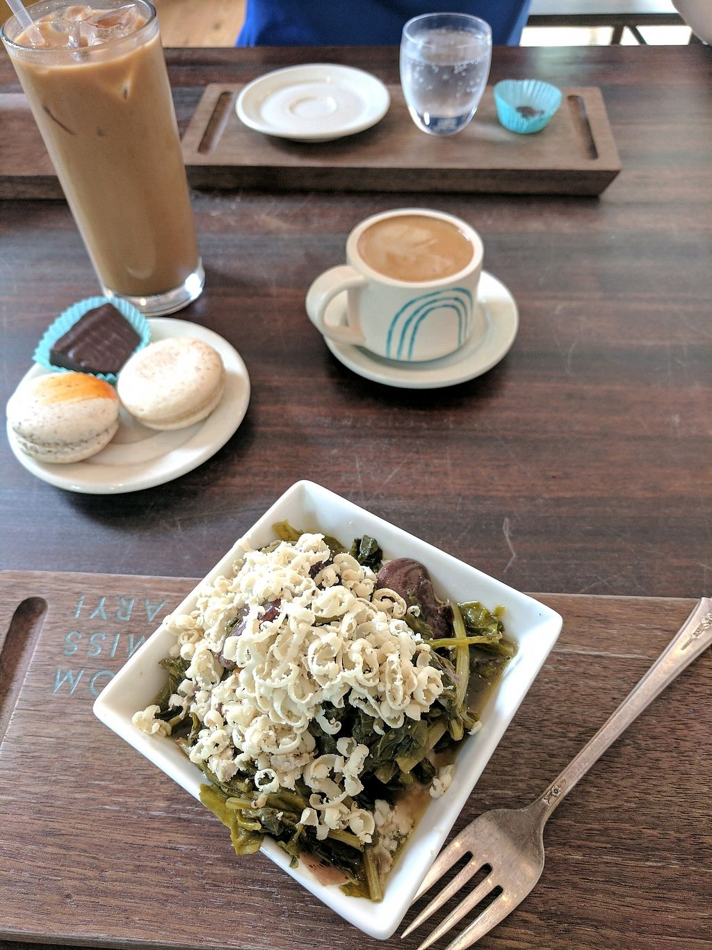 """Photo of Lagusta's Luscious Commissary  by <a href=""""/members/profile/GiselleBenitez"""">GiselleBenitez</a> <br/>beans and greens, iced chai latte, macaroons and chocolate! <br/> December 9, 2017  - <a href='/contact/abuse/image/76064/333643'>Report</a>"""