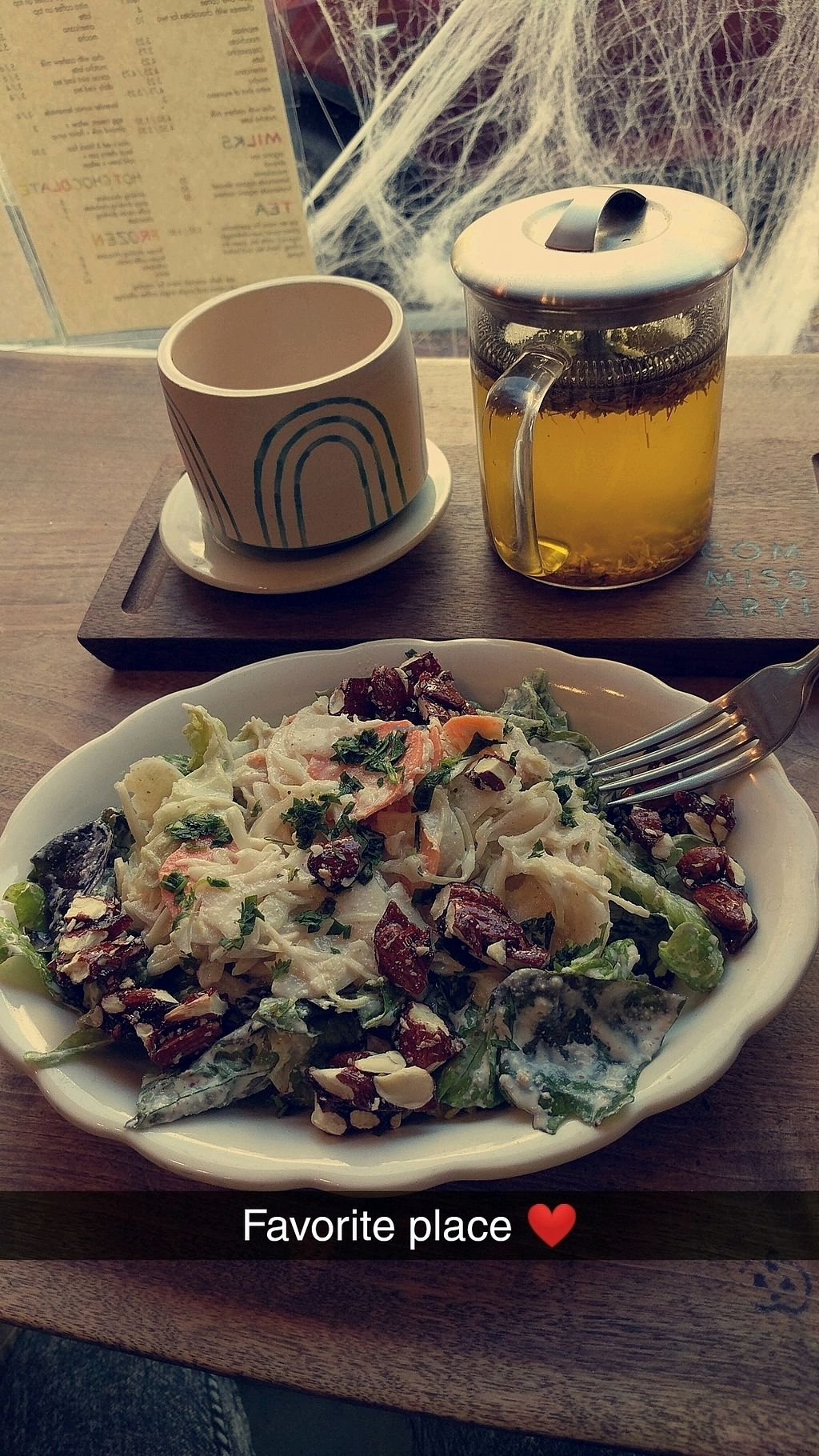 """Photo of Lagusta's Luscious Commissary  by <a href=""""/members/profile/GiselleBenitez"""">GiselleBenitez</a> <br/>delicious salad and some turmeric tea! <br/> December 9, 2017  - <a href='/contact/abuse/image/76064/333648'>Report</a>"""