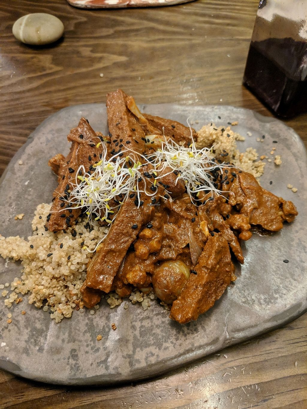 """Photo of La Encomienda  by <a href=""""/members/profile/Heners37"""">Heners37</a> <br/>seitan mole sauce with quinoa. lovely! <br/> March 31, 2018  - <a href='/contact/abuse/image/76139/378610'>Report</a>"""