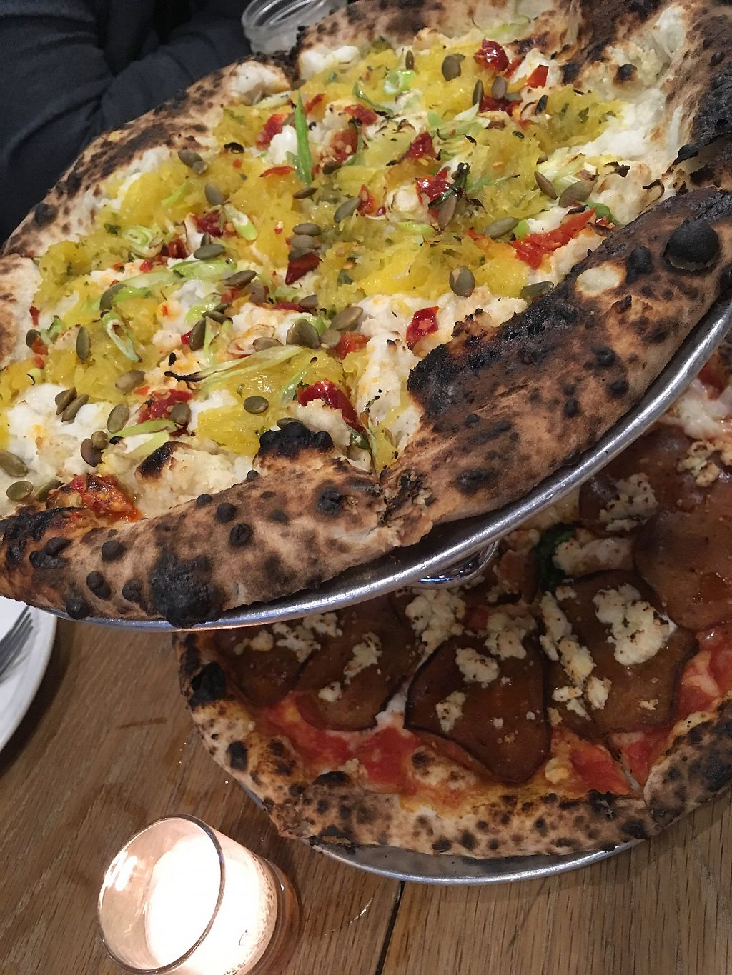 """Photo of Talula's Pizza  by <a href=""""/members/profile/Isamara"""">Isamara</a> <br/>Top: spaghetti squash. Bottom: Vegeroni <br/> October 29, 2017  - <a href='/contact/abuse/image/76216/319679'>Report</a>"""
