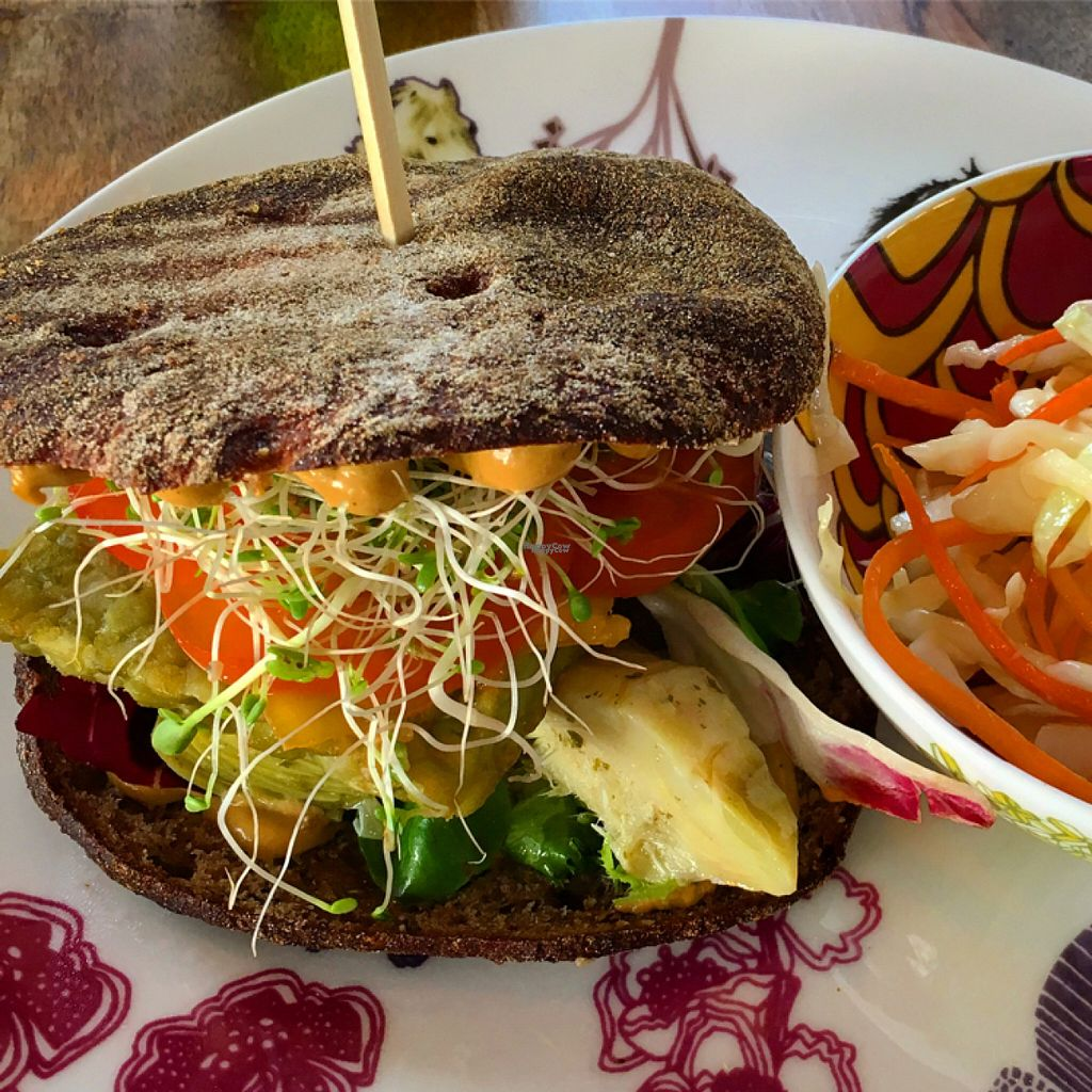 "Photo of Roots  by <a href=""/members/profile/SeitanSeitanSeitan"">SeitanSeitanSeitan</a> <br/>Green pea tempeh burger <br/> August 6, 2016  - <a href='/contact/abuse/image/76224/166109'>Report</a>"
