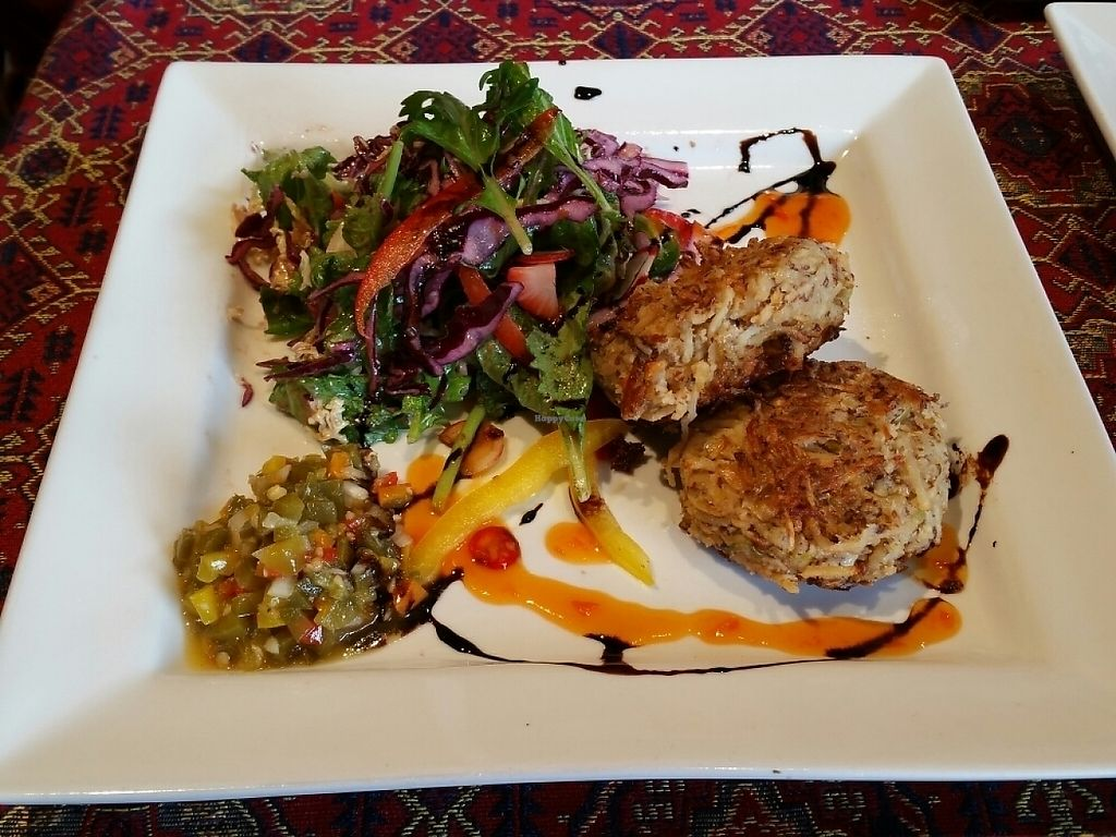 """Photo of Rebecca's Restaurant  by <a href=""""/members/profile/Elliek"""">Elliek</a> <br/>Parsnip Cashew Cakes- Sautéed chillies, leek, ginger and parsnip mixed with toasted cashews and almond flour. Pan seared until crispy served with pickled jalapeno salsa <br/> May 3, 2017  - <a href='/contact/abuse/image/76259/255260'>Report</a>"""