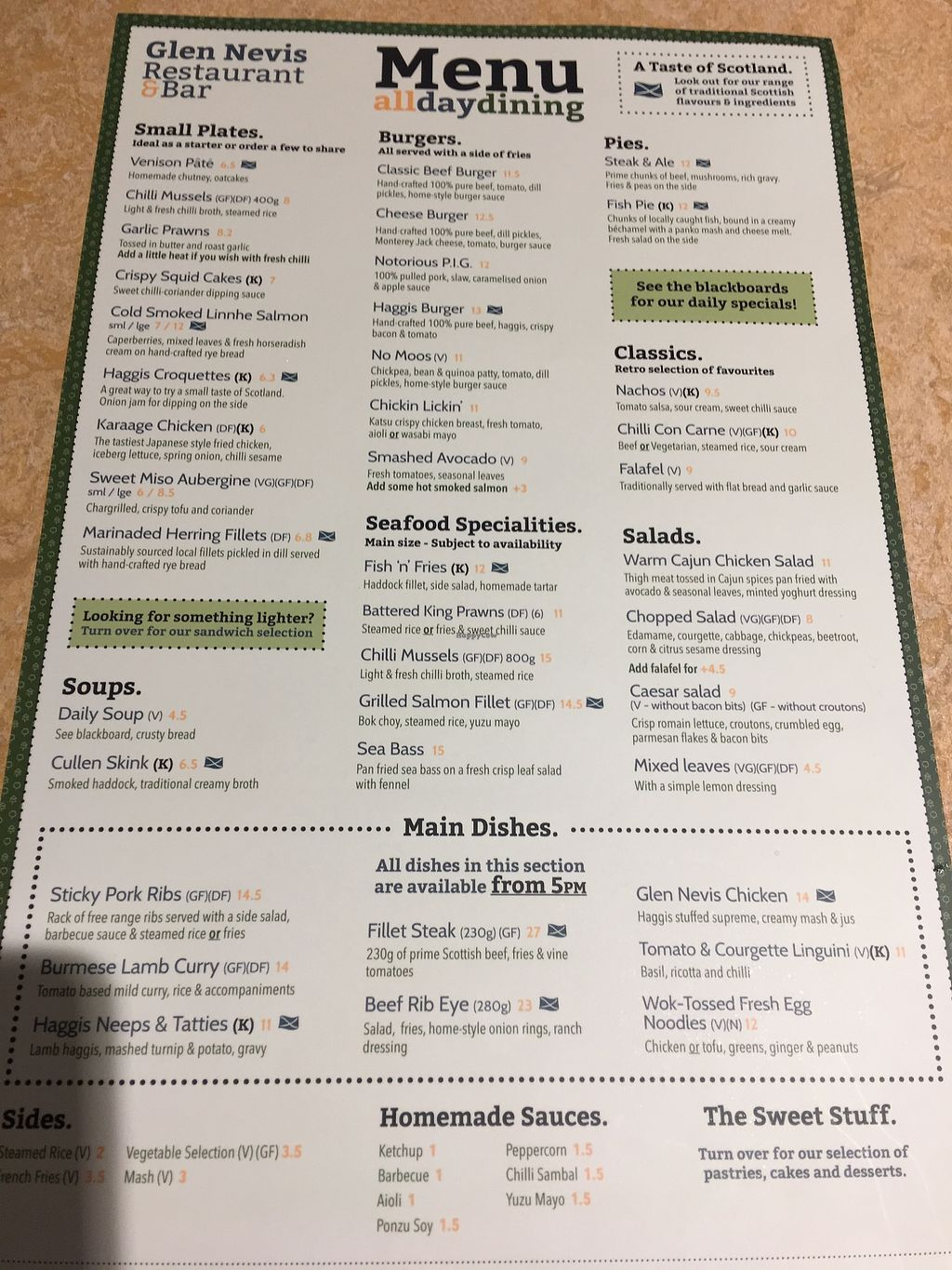 "Photo of Glen Nevis Restaurant  by <a href=""/members/profile/HighlandBuddha"">HighlandBuddha</a> <br/>Menu July 2017 <br/> July 17, 2017  - <a href='/contact/abuse/image/76276/281565'>Report</a>"