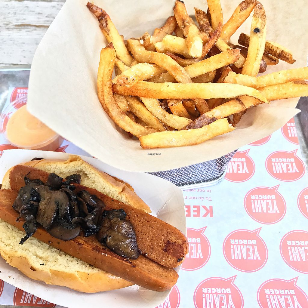 """Photo of Yeah Burger - Howell Mill Rd  by <a href=""""/members/profile/melissapedroso"""">melissapedroso</a> <br/>Vegan dog <br/> October 30, 2017  - <a href='/contact/abuse/image/76371/320200'>Report</a>"""