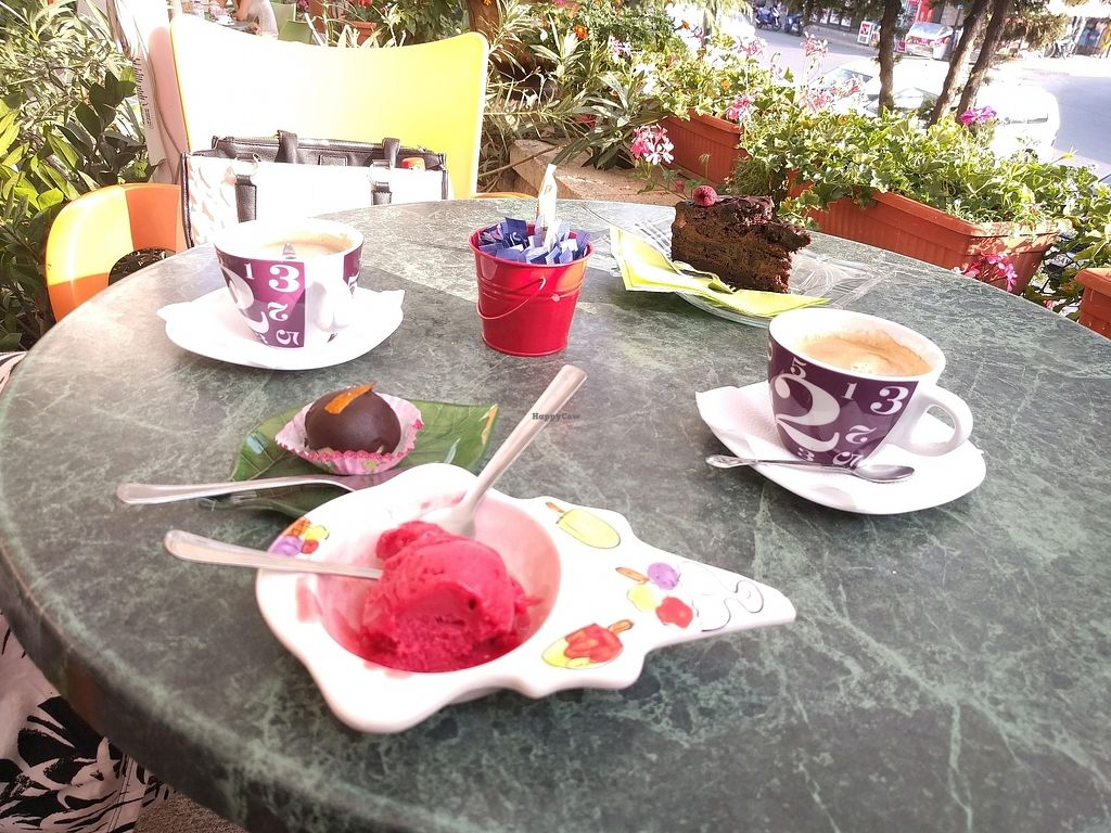 """Photo of Ice Cream Saloon Clio  by <a href=""""/members/profile/bakeley"""">bakeley</a> <br/>table with all vegan items <br/> September 20, 2017  - <a href='/contact/abuse/image/76372/306571'>Report</a>"""