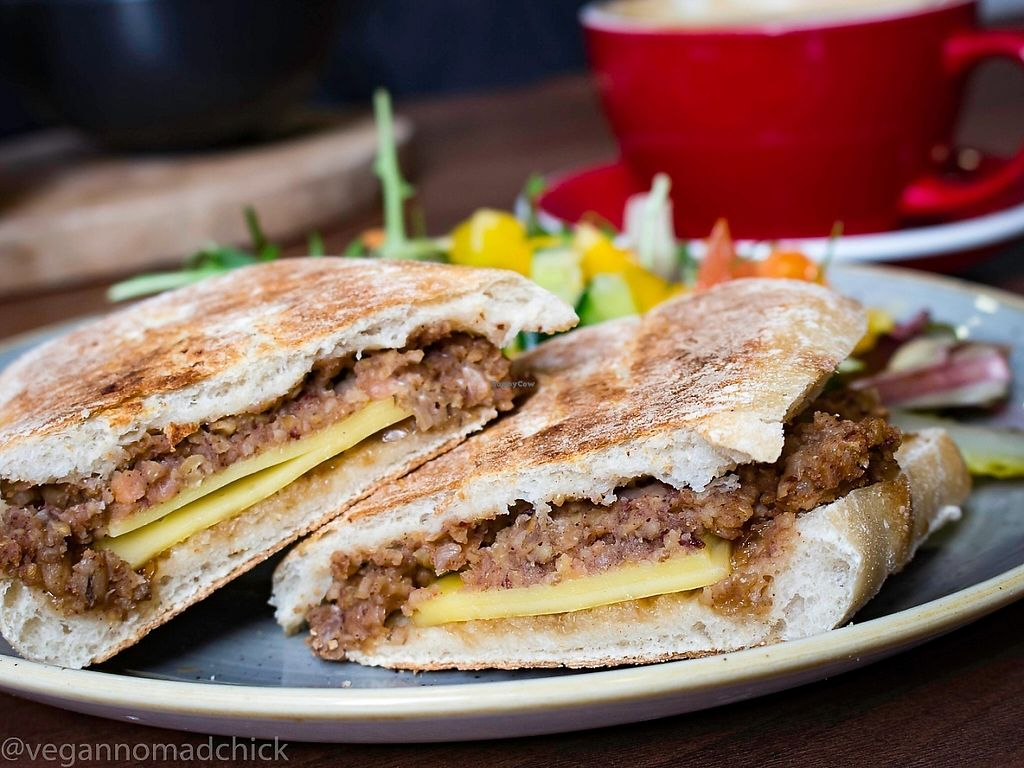 """Photo of The Flame Tree Cafe  by <a href=""""/members/profile/vegannomadchick"""">vegannomadchick</a> <br/>Vegan haggis panini with onion chutney and vegan cheese <br/> May 6, 2017  - <a href='/contact/abuse/image/76399/256202'>Report</a>"""