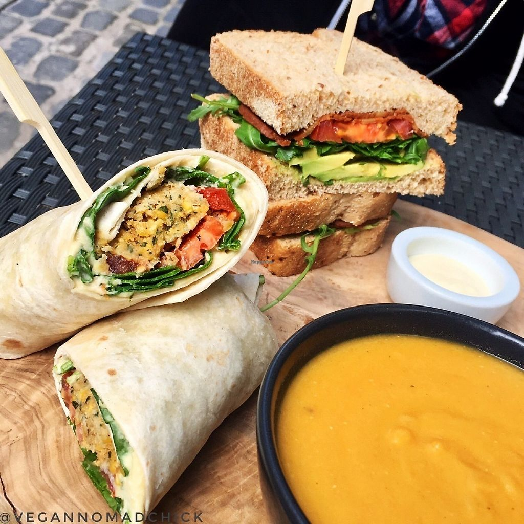 """Photo of The Flame Tree Cafe  by <a href=""""/members/profile/vegannomadchick"""">vegannomadchick</a> <br/>Falafel wrap and vegan BLT with avocado <br/> May 6, 2017  - <a href='/contact/abuse/image/76399/256205'>Report</a>"""