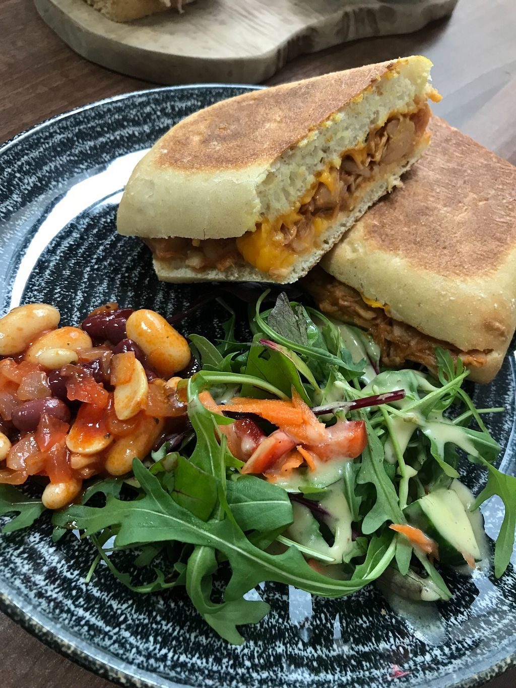 """Photo of The Flame Tree Cafe  by <a href=""""/members/profile/AshleighC"""">AshleighC</a> <br/>Vegan bbq jackfruit and violife panini.  One of the new options from the Flame Tree Cafe's updated 2018 menu <br/> February 19, 2018  - <a href='/contact/abuse/image/76399/361402'>Report</a>"""