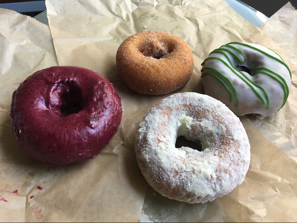 """Photo of Blue Star Donuts - Downtown  by <a href=""""/members/profile/Pedropod"""">Pedropod</a> <br/>Left to Right: Raspberry, cinnamon, orange oil, matcha <br/> November 23, 2016  - <a href='/contact/abuse/image/76403/193746'>Report</a>"""