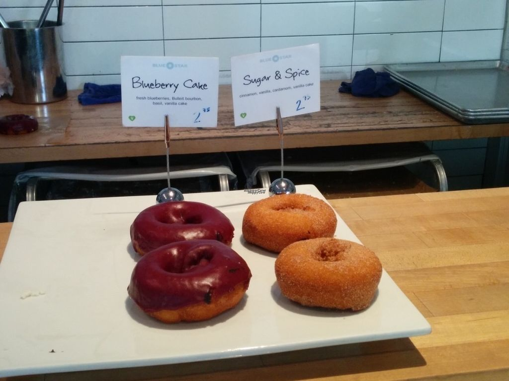 "Photo of Blue Star Donuts - 23rd  by <a href=""/members/profile/MizzB"">MizzB</a> <br/>Tasty, moist vegan donuts. Blueberry basil, sugar & spice.  <br/> October 1, 2016  - <a href='/contact/abuse/image/76404/178981'>Report</a>"