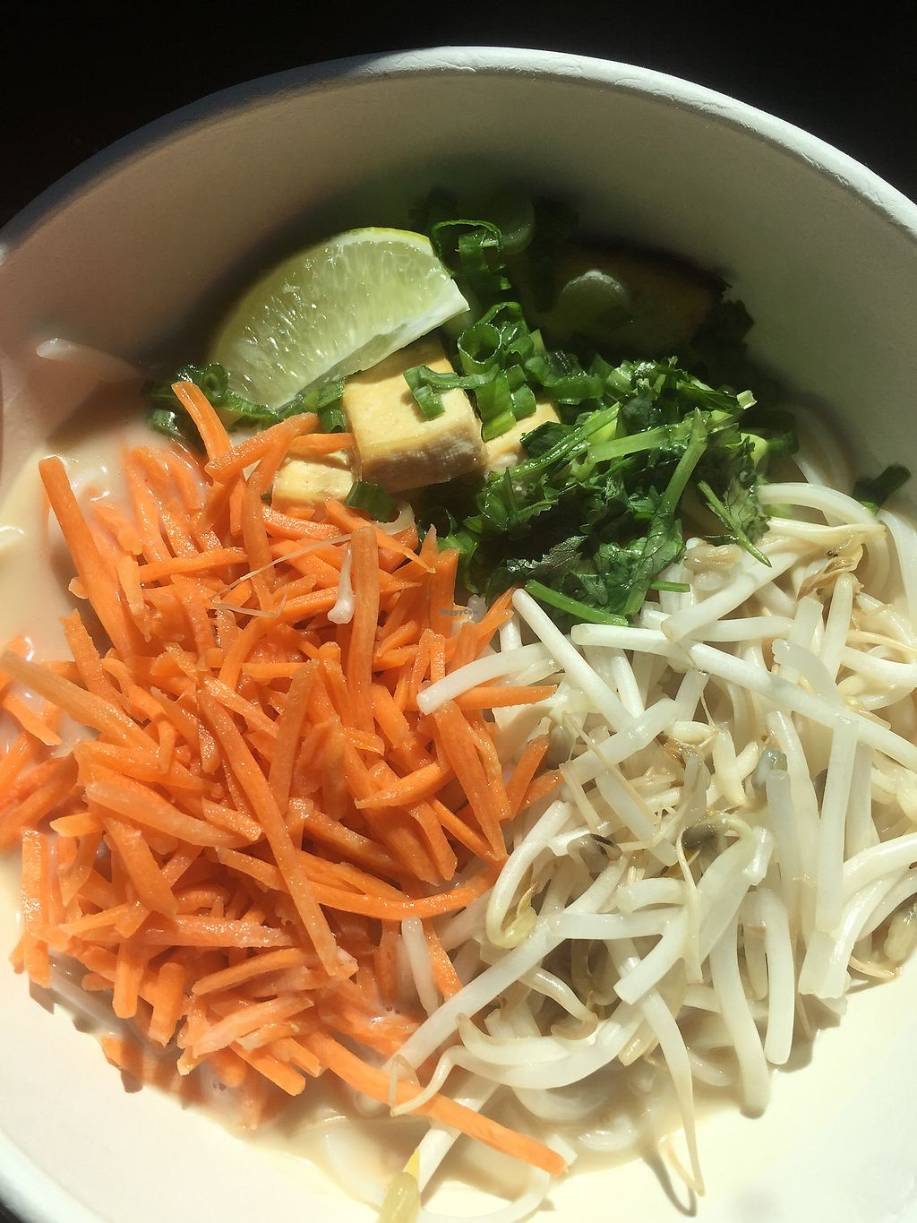 """Photo of Noodle Nirvana  by <a href=""""/members/profile/DeltaDiva5"""">DeltaDiva5</a> <br/>Sesame tofu with rice noodles and spicy lime veggie broth  <br/> September 29, 2017  - <a href='/contact/abuse/image/76449/309851'>Report</a>"""