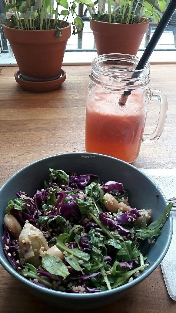 "Photo of Flax & Beets  by <a href=""/members/profile/piffelina"">piffelina</a> <br/>Medium salad and watermelon-peach-orange juice <br/> August 15, 2017  - <a href='/contact/abuse/image/76451/292905'>Report</a>"